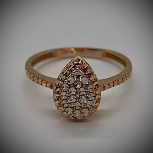 NEW 14k Rose Gold Teardrop Engagement Ring